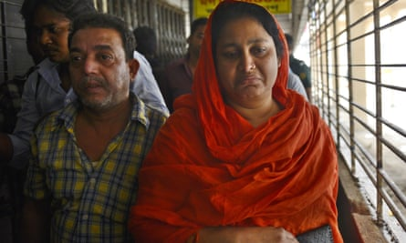 Relatives of Washiqur Rahman arrive at the Dhaka medical college morgue on Monday.