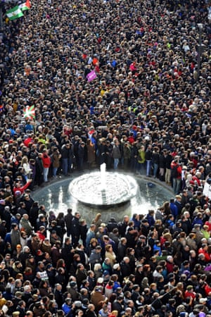 Demonstrators gather near Madrid's Puerta del Sol for a 'March for Change' organised by Podemos in January 2015.