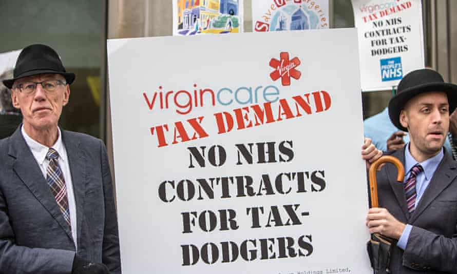 Protest against Virgin Care's use of tax havens