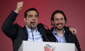 Alexis Tsipras (left), leader of Greece's Syriza party and now the country's prime minister, with Podemos leader Igelsias.