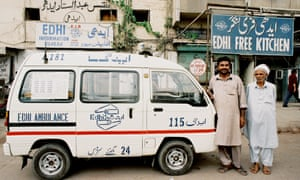 A foundation ambulance outside the Edhi Free Kitchen.