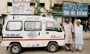 A foundation ambulance outside the Edhi Free Kitchen.