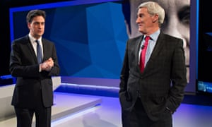 Ed Miliband and Jeremy Paxman chat during the filming of Cameron and Miliband: The Battle For Number 10.