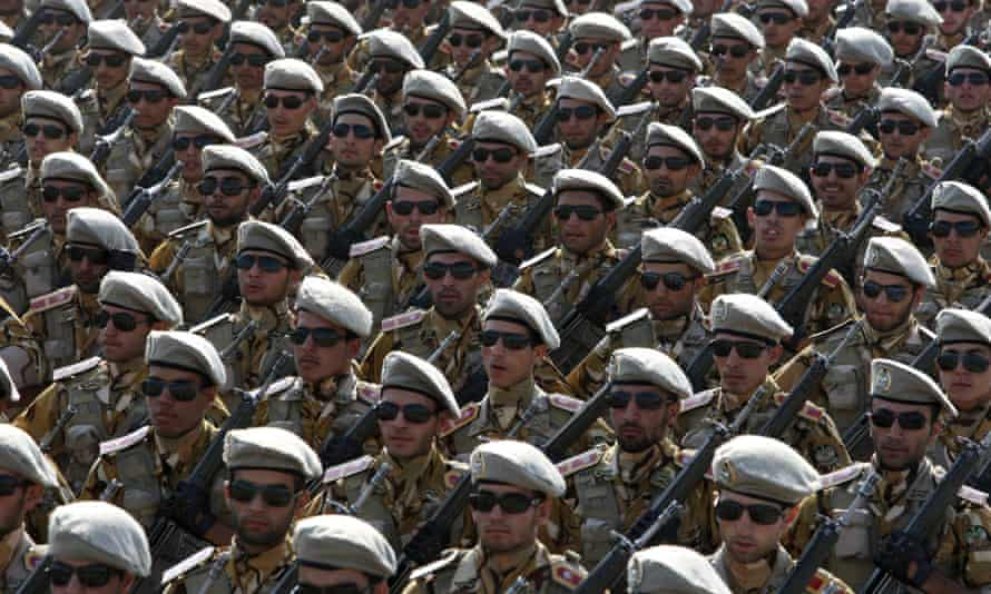 Iranian army members during a parade marking the anniversary of the start of the Iraq-Iran war.