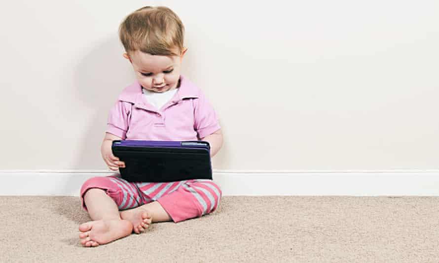 Baby girl on iPad