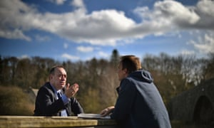 Alex Salmond doing an interview for Dutch TV at the launch of the SNP's general election campaign.