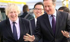 David Cameron and Boris Johnson reassuring people.