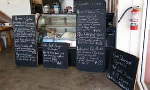 The menu at Harvest and Cater cafe.