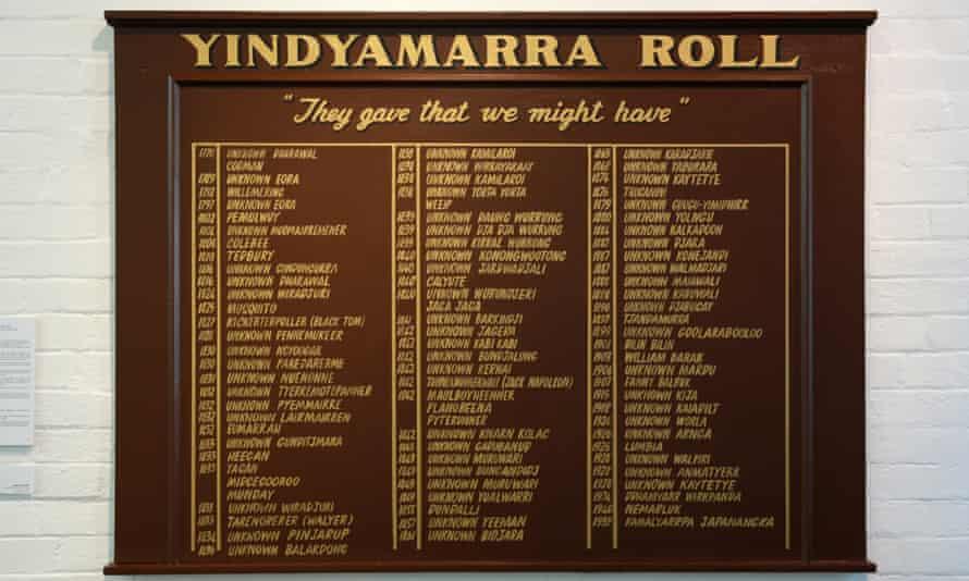 Amala Groom honours fallen warriors from the 'frontier wars' in Yindyamarra Roll.