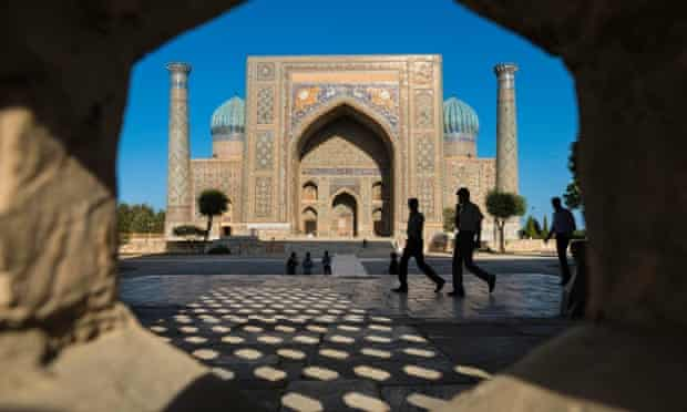 'Patterned minarets, glistening cupolas' ... the dizzying Registan square in Samarkand, south-east Uzbekistan.