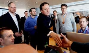 David Cameron at Sainsbury HQ