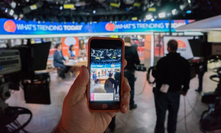 A man uses Periscope to live steam NBC.