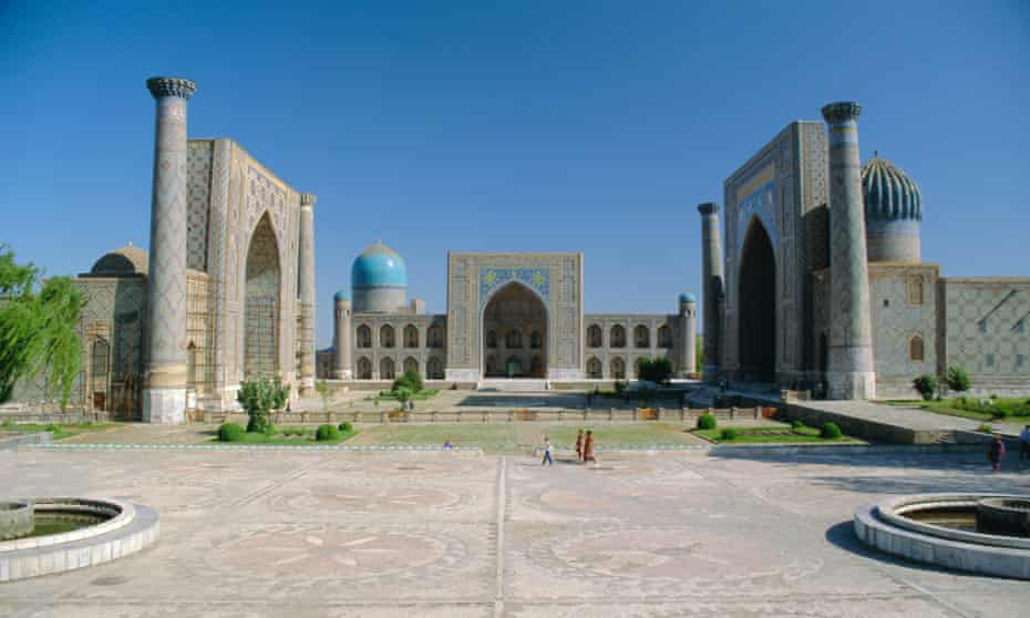 The Registan in Samarkand. 'The result of the coming together of craftsmen and builders from across the empire'.