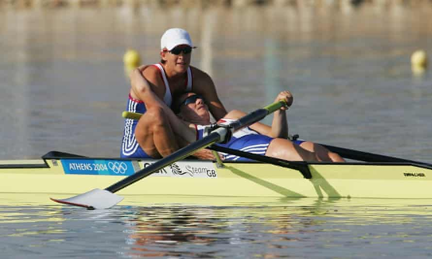 Grainger supports her team-mate Cath Bishop after securing silver in the pairs at the Athens Games in 2004.