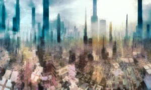 The Echos of our Spired World - Mike de Sousa A crowded city of spires and countless architectural forms reach into the far haze of future
