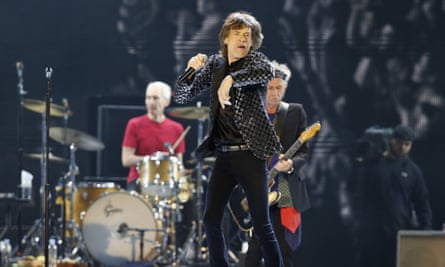 Mick Jagger and the Rolling Stones performing during their 2014 concert at Tokyo Dome in Tokyo.