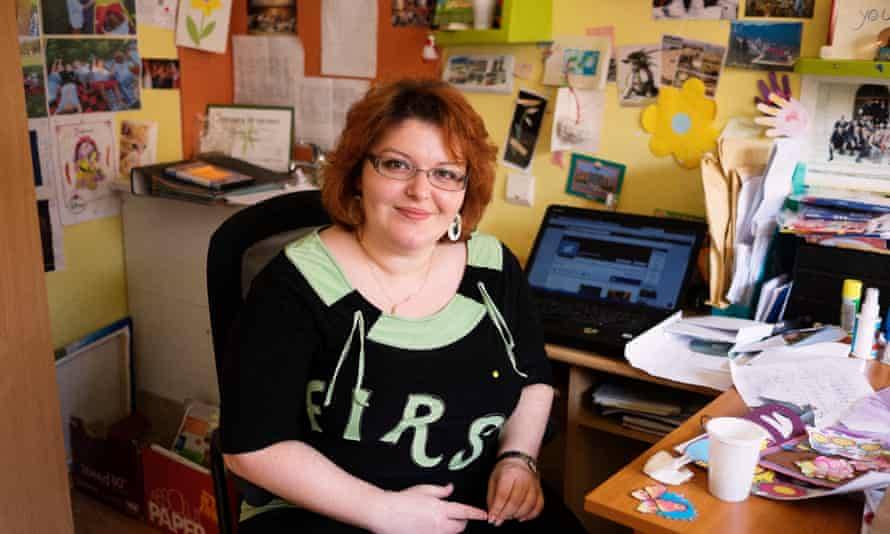 """'I received hundreds of phone calls in the middle of the night saying: """"You Jew""""': Dalia Golda in her office at the Jewish kindergarten, Gan Eden, she founded in central Bucharest, Romania."""
