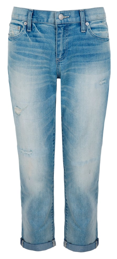Light wash distressed girlfriend jeans by Gap