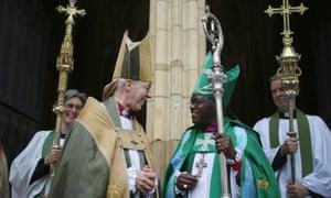 The Archbishop of Canterbury, Justin Welby, and Archbishop of York, John Sentamu, outside York Minster.