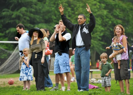 US President Barack Obama in his signature dad jeans