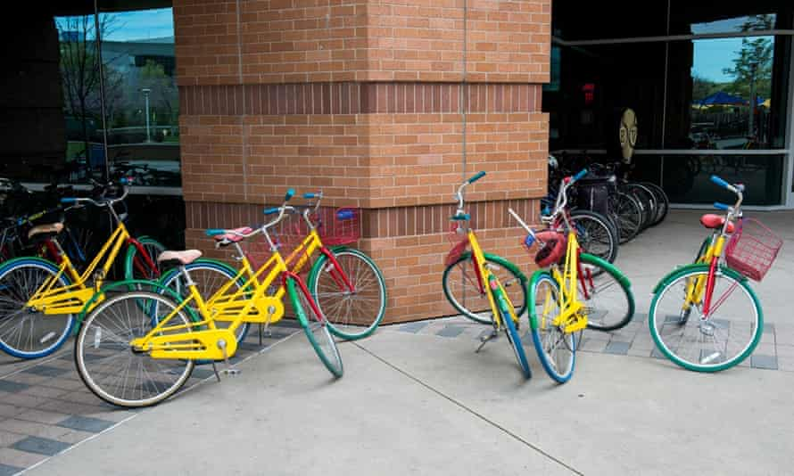 Google bikes on campus at Mountain View HQ in California