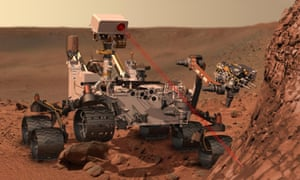 The Curiosity rover (seen here in an artist's impression) has been forced to halt its work on the surface of Mars, while engineers investigate a fault.