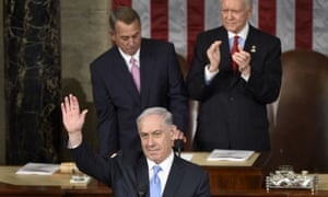 Benjamin Netanyahu in the US congress waves to his audience