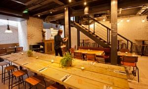 The bench tables at Blacklock restaurant, Soho