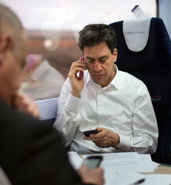 ed miliband on a train to plymouth, feb 2015