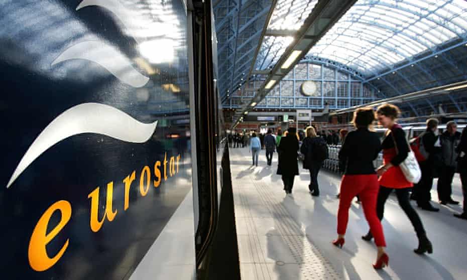 A Eurostar train at St Pancras station