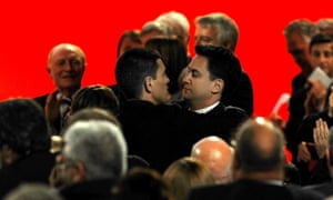 David Miliband embraces his brother Ed after losing to him in the battle for the Labour leadership in 2010.