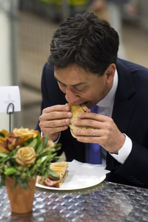 ed miliband eating a bacon sandwich may 2014