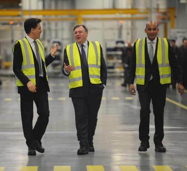 Ed Miliband, Ed Balls and Chuka Umunna at Jaguar Land Rover in Wolverhampton February 2015