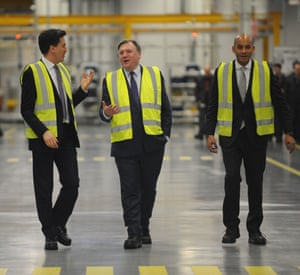 Ed Miliband, Ed Balls and Chuka Umunna at Jaguar Land Rover in Wolverhampton February 2015