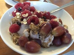 My creative breakfast of Weetabix, yogurt, raspberries and red grapes