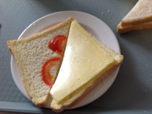 Hospital cheese and tomato sandwich.