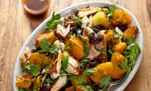 Yotam Ottolenghi's warm red mullet salad with potatoes, olives and harissa dressing.