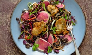 Yotam Ottolenghi's crisp oysters with soba noodles and mixed cress