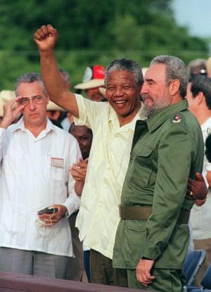Castro with Nelson Mandela 1991 in Matanzas