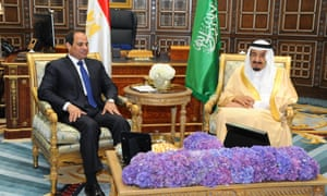 President Abdel Fatah al-Sisi in Riyadh on 1 march with Saudi Arabia's King Salman bin Abdulaziz Al Saud.