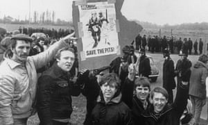 Pickets outside Thoresby colliery in Nottinghamshire during the miners' strike, March 1984.