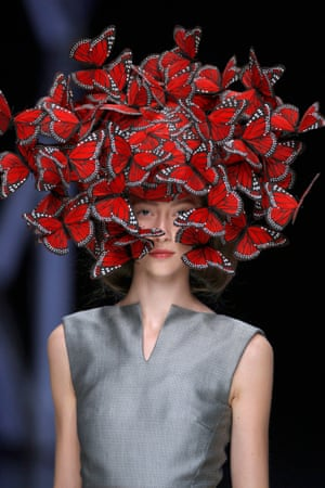 Butterfly headdress of hand-painted turkey feathers.  Photograph: Anthea Simms