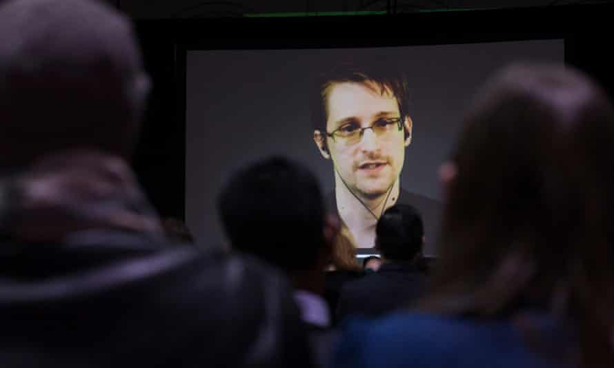 Edward Snowden appears live via a video link at a Toronto college in February.