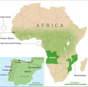 A map showing the route taken by the students to escape Portugal and the colonies in Africa they would eventually return to.