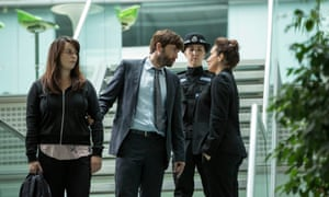 Eve Myles, David Tennant and Lucy Cohu in Broadchurch season two.