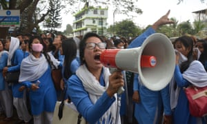 Thousands rallied in Dimapur on 4 March to protest against the rape of a student.