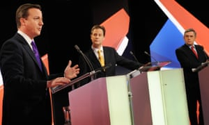 One of the TV leaders debates in 2010 with (from left) David Cameron, Nick Clegg and Gordon Brown