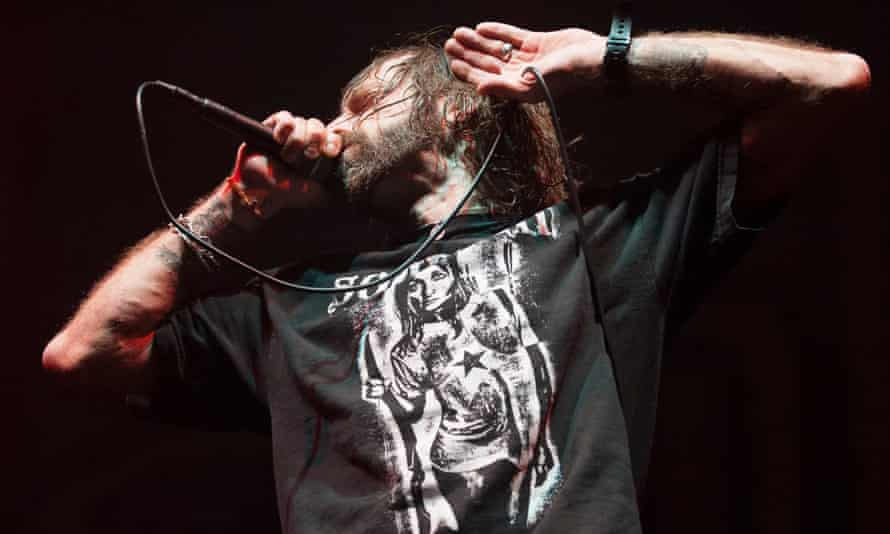 Randy Blythe of Lamb of God on stage at Southampton Guildhall on January 12, 2014