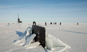 Submarines such as this US one are one of several sources of data on Arctic sea ice thickness.