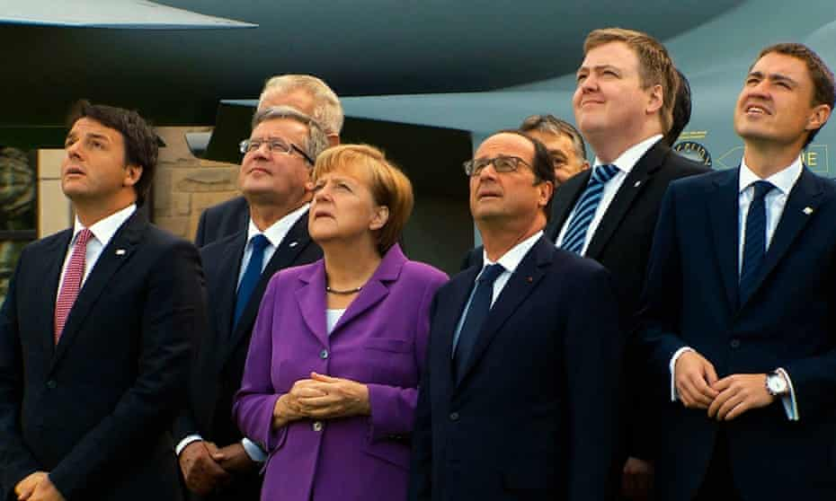 Angela Merkel, Francois Hollande and other EU officials, in a still from The Great European Disaster Movie.